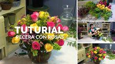Como hacer arreglos de flores /pecera con rosas de colores.