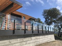 Tempered Laminated Glass Railing with a Napa Valley View Balcony Glass Design, Glass Balcony Railing, Patio Railing, Balcony Railing Design, Outdoor Railings, Napa Valley, Steel Balustrade, Modern Porch, Victoria House
