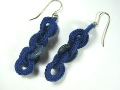 Long Blue Crochet Earrings, Interlaced Cotton Crochet And Lapis Lazuly Rings Etsy Jewelry, Handmade Jewelry, Unique Jewelry, Handmade Gifts, Fleet Feet Shoes, Cotton Crochet, Chainmaille, Tribal Jewelry, Gifts For Her