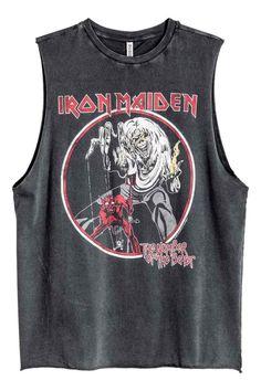 Débardeur avec impression - Noir/Iron Maiden - FEMME | H&M FR