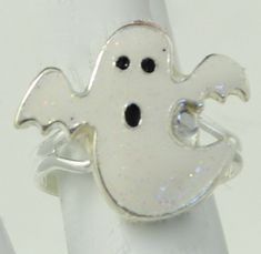 Small Halloween Ghost Ring Spooky Ring Glitter Ring Adjustable Ring Under 20 USD