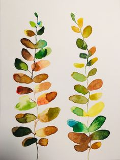 Watercolor Leaves, Watercolor Cards, Abstract Watercolor, Watercolor And Ink, Watercolor Illustration, Watercolor Projects, Leaf Art, Art Plastique, Botanical Art