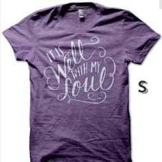 Adult S Purple It Is Well With My Soul Shirt ($25) ❤ liked on Polyvore featuring tops, t-shirts, black, women's clothing, black t shirt, long shirts, men shirts, ripped shirts and long tee
