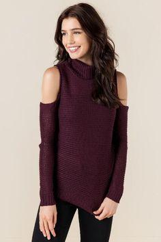 5cec0fa2d7a2d Caraway Cold Shoulder Sweater-wine-cl Cold Shoulder Sweater