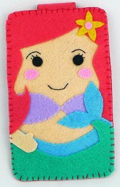Colección princesa la Sirenita disneyland Handmade fieltro teléfono caso iphone, samsung, Htc, Mac book, ipad, ipad mini