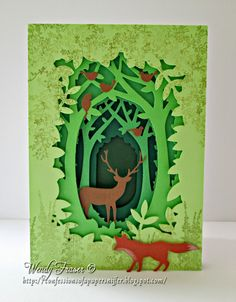 I'm in love with the new Xcut Build a Scene dies, I treated myself to the Woodland set and Mum bought the Street set, I had itchy fingers to. 3d Paper Art, Paper Artwork, Diy Paper, Paper Crafts, Kirigami, Shadow Box Kunst, Shadow Box Art, Diy Cadeau, Handmade Books