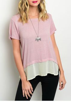 """Light pink short sleeve boat neck tunic top with an off white colored 4.5"""" hem. Hangs to mid hip depending on height and it is very comfortable to wear. Ideal for work or for play.  Boat Neck Tunic by Nine Bird. Clothing - Tops - Short Sleeve Philadelphia Pennsylvania"""
