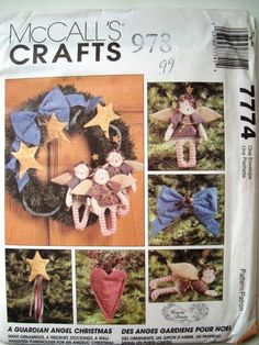 McCalls Crafts 7774 Guardian Angel Christmas Pattern. Make Ornaments, Tree Skirt, Stockings, Wall Hanging, Card Holder. Uncut