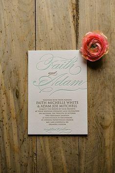 FAITH Fancy Glitter Package, mint and gold letterpress wedding invitations, fancy mounted wedding invitation