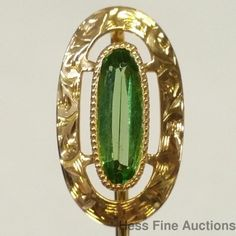 Extremely Rare Ultra Bright Approx 0.50ct Demantoid Garnet 14k Gold Stick Pin
