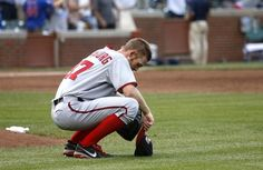AP photo of Strasburg seconds after Cubs' Donnie Murphy's game-tying homer. Says it all-but Nats go n to win after 13 innings 8/22/2013