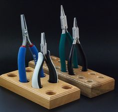Best Tool Holder - You Pick 3,4,6 or 7 Tools - Wooden Blocks for your Workbench - Free Sample Pack of my Handmade Jump Rings Included