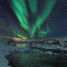 'Northern Lights Over Iceland', a photo tile mosaic at TileArray #mosaic #mosaics #northernlights #Iceland #tilearray