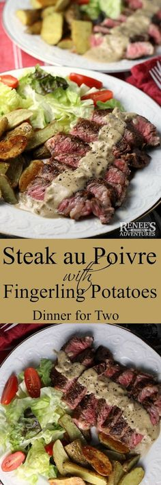 Steak au Poivre with Fingerling Potatoes-Renee's Kitchen Adventures Easy to make dinner idea for two. A delicious steak and potato recipe ready in about 30 minutes! #SundaySupper