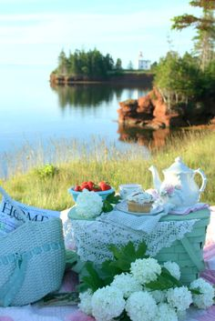 Good idea to keep me on track picnic by the lake. Doodling on rocks- could be fun at camp garden picnic peace Picnic Time, Summer Picnic, Beach Picnic, Picnic Spot, Estilo Shabby Chic, Romantic Picnics, Romantic Getaway, Company Picnic, My Tea