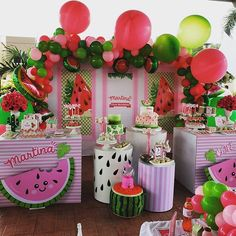 Watermelon Birthday Parties, 1st Birthday Party For Girls, Fruit Birthday, 1st Birthday Themes, Birthday Party Centerpieces, Birthday Decorations, Tutti Fruity Party, Tropical Party, First Birthdays