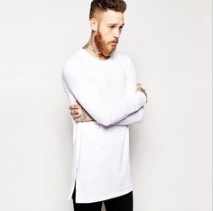 2017 Brand New extra long tee shirts for men hip hop men's longline t shirts