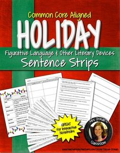 Winter Holiday Figurative Language Sentence Strips - No Prep! Just print and go: all the work is done for you!