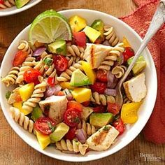 Impress at your next picnic or potluck party with this healthy pasta salad recipe. Fresh cilantro leaves and lime juice perk up this Southwest pasta salad that includes an expected combination of mangoes and avocados.