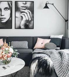 salon en gris et blanc très esthétique, canapé couleur gris anthracite et tapis couleur gris clair, peinture murale blanhce, quelques accents rose