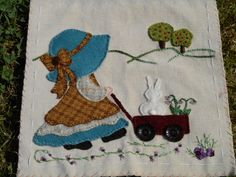 Sal Sunbonnet (Sunbonnet Sue, girl, wagon, rabbit, trees, embroidery, quilt block, ribbon)