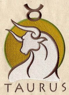 Taurus Astrology Embroidered Flour Sack by EmbroideryEverywhere, $14.99