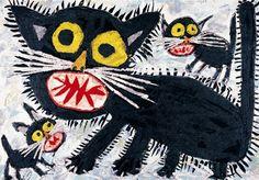 """""""Svarte katter"""", av Nobuyuki Kumasaka Det internasjonale barnekunstmuseet 1203"""