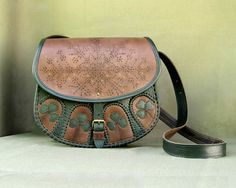 "Genuine leather brown handbag ""Lost by woodman"" with green trefoils for women made in ethnic style"