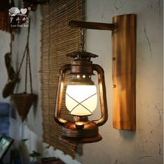96.90$  Buy now - Vintage Retro Loft Country Iron Glass Lantern Led E27 Wall Lamp For Bar Entrance Restaurant Aisle Indoor Outdoor Wall Light 2024  #aliexpressideas
