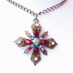 Coro Rhinestone Cross Pendant Necklace by EmbellishgirlVintage
