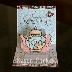 Karen Aicken using the Pop it Ups Lucy Label die by Karen Burniston for Elizabeth Craft Designs - Altered Scrapbooking: Teapot Mother's Day Card