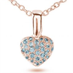 Aquamarine Single Bale Pave Set Heart Pendant Necklace in Rose Gold
