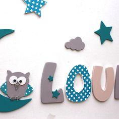 d coration pr nom lettres en bois lettres taille 9 cm d coration pour enfants par. Black Bedroom Furniture Sets. Home Design Ideas