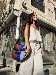 636b78ff153f Amlul blogger Gala Gonzalez works the color-blocked trend in Tory s Gemini  Link shoulder bag