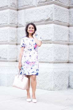 Love_Playiing_Dressup, Shein, floral dress, rose gold satchel, henri bendel, ootd, what to wear to office, corporate dress code, girl boss, smile, white pumps, slimming dress, petite, boston blogger, extrapetite, most pinned photo, street style , indian blogger, henri bendel rose gold bag, dual pearl earrings