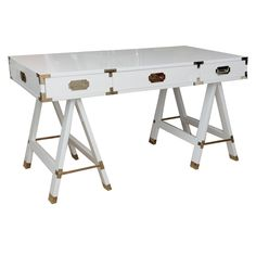 White Lacquered and Nickel Silver Campaign Desk | 1stdibs.com  LENGTH: 4 ft. 4 in. (132 cm) DEPTH: 24 in. (61 cm) HEIGHT: 30 in. (76 cm)