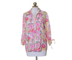 JM Collection Pink Floral Vneck Tie Gather 3/4 Sleeve Button Down Shirt Size 14 #JMCollection #ButtonDownShirt #Casual