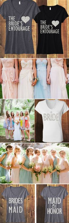 """GLITTER BRIDAL SHIRTS! """"The Bride's Entourage"""", #Bridesmaid, #MaidOfHonor, #Bride & Mrs. shirts are $24.99 on Etsy. Click here to see them all www.etsy.com/shop/NobullWomanApparel?section_id=14351460&ref=shopsection_leftnav_3"""