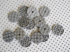 LEGO Technic Plate 4x4 Round With Holes Part 60474 Lot of 14 Dark Blue Gray #LEGO