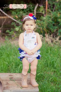 Baby Girl Sunsuit Romper Ruffle Romper Toddler by AddysAtticOnEtsy
