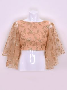Peach Color Designer Cotton Silk Fabric Ready Made Blouse, flared sleeves blouses, saree blouse desi Choli Designs, Lehenga Designs, Choli Blouse Design, Design For Blouse, Silk Kurti Designs, Cotton Saree Blouse Designs, Stylish Blouse Design, Stylish Dress Designs, Stylish Dresses