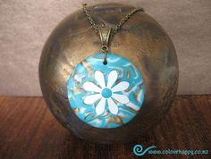 Aqua, Bronze & Pearl Daisy Pendant. ♥ Handmade polymer clay jewelry by Colour Happy / Adele