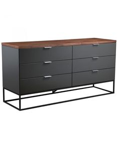 A rich material mix, the Christopher Dresser features a walnut veneer top, gray-lacquer drawers, and a black metal base. Take advantage of its open-air base and clean lines to add a modern silhouette to your space.