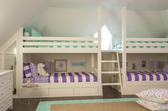 Bunk beds Built in design Jennifer Mehditash Www.mehditashdesign.com photo John Gruen styling Raina Kattelson  kids bedroom purple mint green