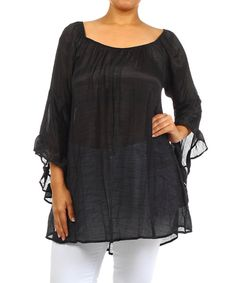 Take+a+look+at+the+Black+Bell-Sleeve+Scoop+Neck+Top+-+Plus+on+#zulily+today!
