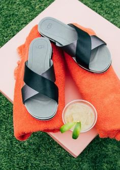 Summer drinks and slip on sandals.