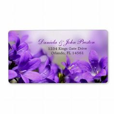 Return Address Lables With Purple Flowers Personalized Shipping Labels, Spring wedding, engagement party, wedding shower, reception or anniversary Wedding Menu Cards, Wedding Labels, Wedding Rsvp, Wedding Programs, Wedding Sets, Party Wedding, Purple Spring Flowers, Spring Wedding Flowers, Spring Weddings