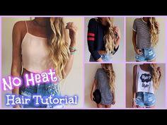 No Heat Curls ♡ Hair Tutorial - YouTube