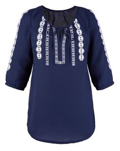 Wholesale Plus Size Clothing from Marisota - - Mar1sota NAVY Embroidered Folk Blouse - Plus Size 16 to 26