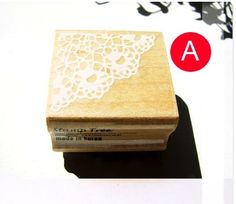 Zakka Victorian Retro Floral Lace Border Wooden Rubber Stamp